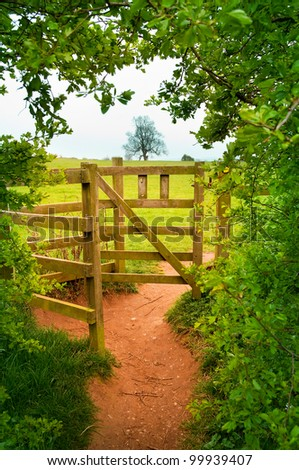 view of wooden gate in countryside through arch in hedge - stock photo