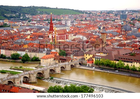View of Wurzburg from Marienberg Fortress, Wurzburg, Germany - stock photo