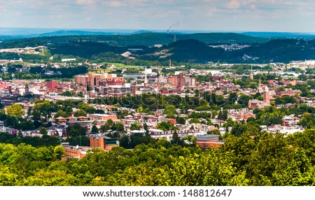 View of York, Pennsylvania, from Top of the World. - stock photo