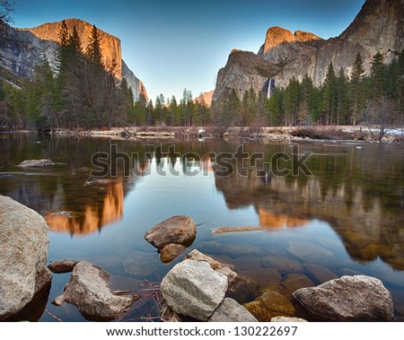 View of Yosemite Valley from the Valley View Turnout at sunset - stock photo