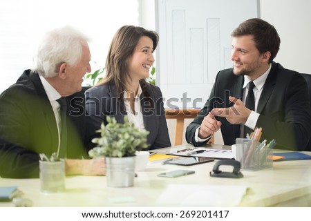 View of young boss leading business conference - stock photo