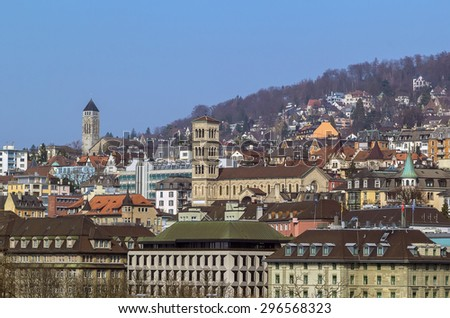 view of Zurich on the hill, Switzerland - stock photo
