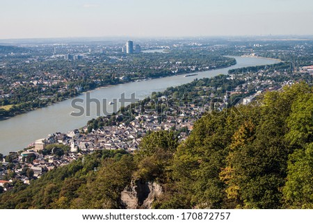 View on a city of Bonn from Drachenfels, Germany - stock photo