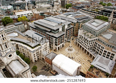 View on a square in London from the top of St. Paul's cathedral. - stock photo