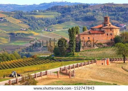 View on abandoned castle and autumnal vineyards of Langhe in Piedmont, Northern Italy. - stock photo