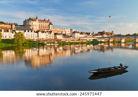 View on Amboise through Loire river at evening, France. - stock photo