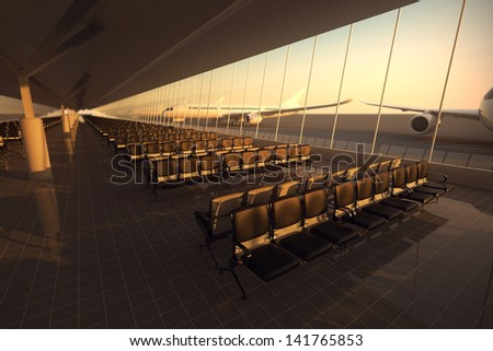 View on an aisle of modern airport terminal with black leather seats at sunset. A huge viewing glass facade with a passenger aircraft behind it. - stock photo