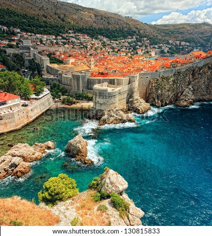 View on ancient castle. (Dubrovnik, Croatia) - stock photo