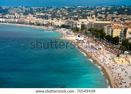 view on Azure coast in Nice, France - stock photo