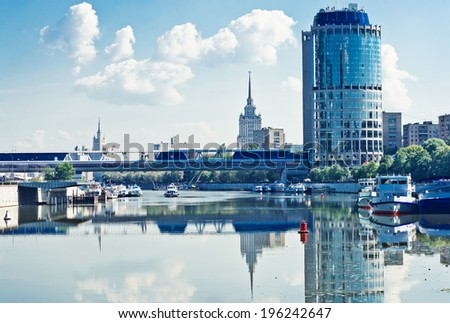 view on Bagration Bridge through Moskva river in Moscow - stock photo