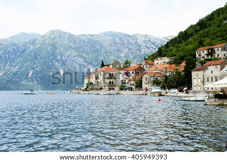 View on beautiful landscape in Montenegro. Perast city - mountains, sea, buildings. Montenegro from the top - stock photo