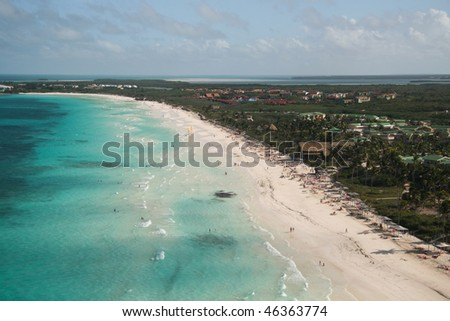 View on blue watervand island from the sky - stock photo