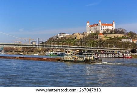 View on Bratislava castle and Danube river,Bratislava,Slovakia - stock photo