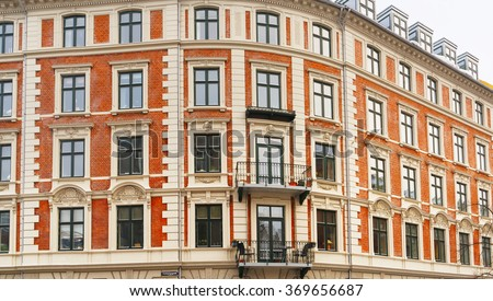 View on Building in Holbergsgade Street in Copenhagen, Denmark - stock photo