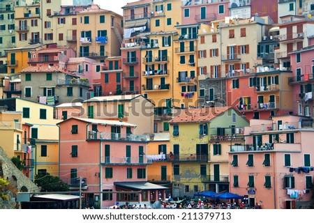 View on buildings in Manarola. Manarola is a small town in the province of La Spezia, Liguria, northern Italy. Cinque Terre. - stock photo