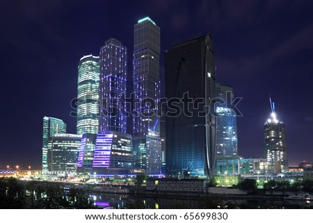 View on business center Moscow-city at night - stock photo