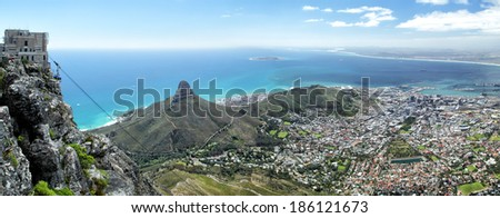 View on Cape Town, Lion's Head and Signal Hill from the top of Table Mountain. - stock photo