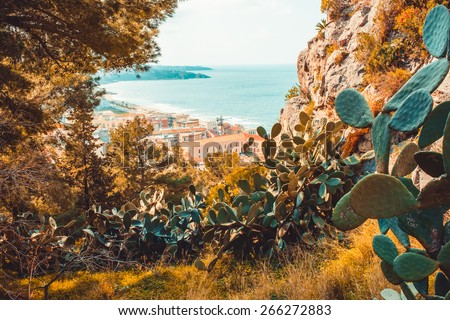 View on Cefalu city from the mountain. SIcily island, Italy - stock photo