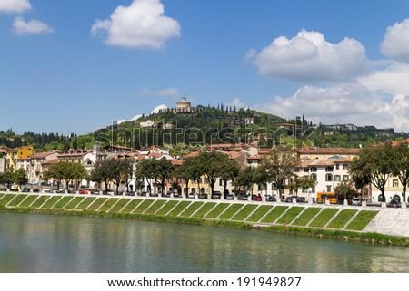 View on Church San Giorgio di Barda in Verona, Italy - stock photo