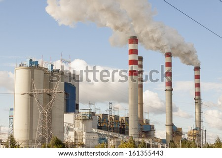 View on coal power plant in Patnow - Konin, Poland, Europe. - stock photo
