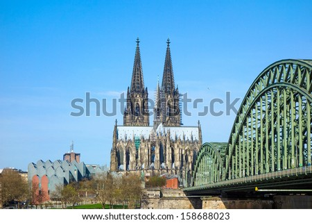 View on Cologne Cathedral and Bridge, Germany - stock photo