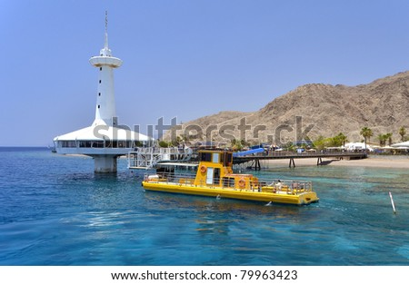 View on coral reef and marine underwater observatory, Eilat, Israel - stock photo