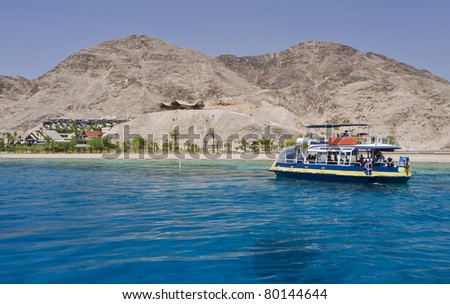View on coral reef resort hotels at southern beach of Eilat city – famous recreation spot in Israel - stock photo