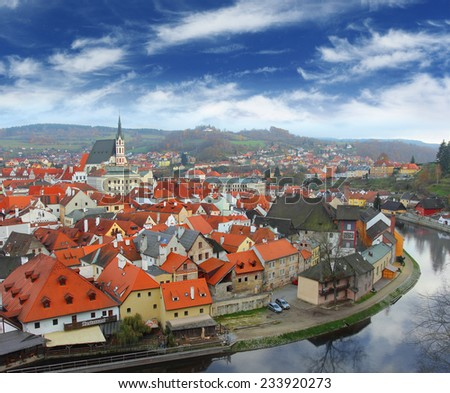 View on Czech Krumlov from the high point, Czech Republic - stock photo