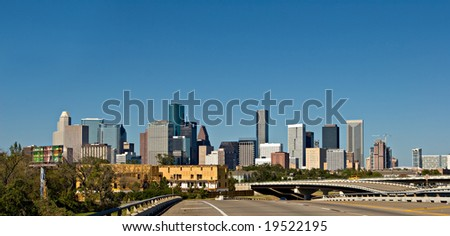 View on downtown Houston from Highway 288 - stock photo