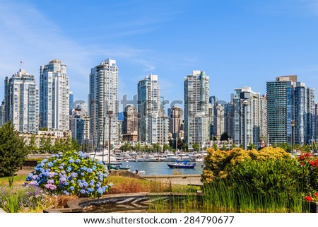 View on Downtown Vancouver from False Creek. - stock photo