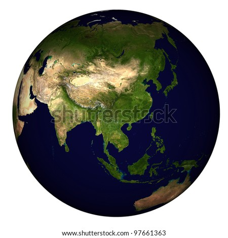 View on Earth centered on China - stock photo
