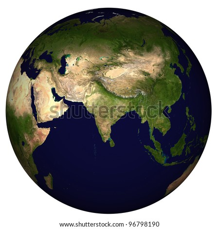 View on Earth, centered on India - stock photo