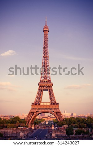 View on Eiffel Tower at sunset, Paris, France. Instagram style filtred image - stock photo