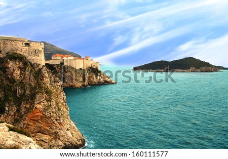 View on famous old city Dubrovnik�s fortification, Croatia, Europe.  - stock photo