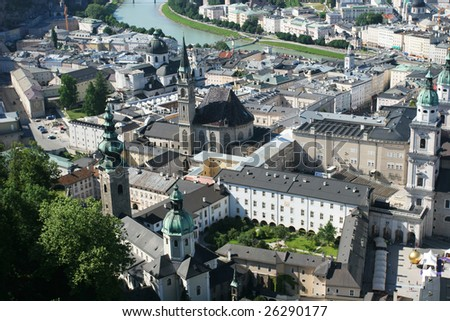 View on historical center of Salzburg from the top (Salzburg, Austria) - stock photo