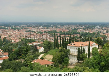 View on historical center of Vicenza from the top (Italy) - stock photo
