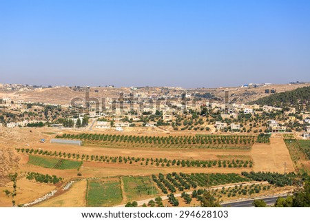 View on houses in a Palestinian village Rabud in Judea - stock photo