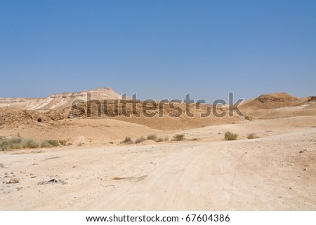 View on Judean desert landscape not far from Metzoke Dragot village. - stock photo