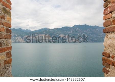 View on Lake Garda from Malcesine - stock photo
