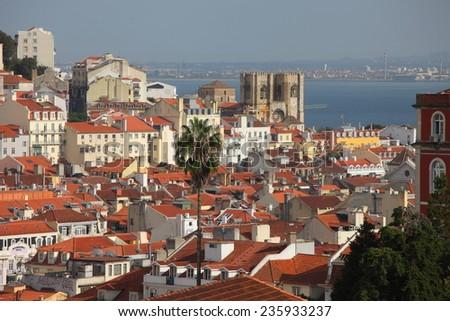 View on Lisbon from miradouro Sao Pedro  - stock photo