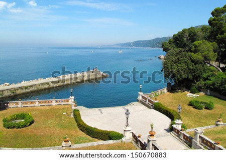 View on luxury port and seashore from Miramare Castle in Trieste, Italy, EU.  - stock photo