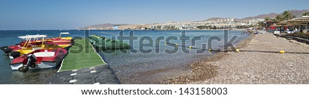 View on marina and central beach in Eilat - famous resort and recreation city in Israel - stock photo