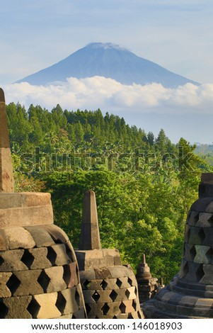 View on Merapi volcano from Borobudur temple, Java island, Indon - stock photo