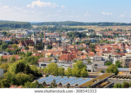 View on Metzingen from the Hill with vineyards - stock photo