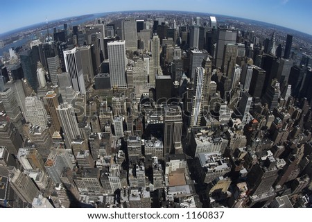View on midtown of Manhattan - stock photo