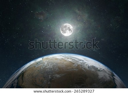 View on moon from erath. Elements of this image furnished by NASA - stock photo