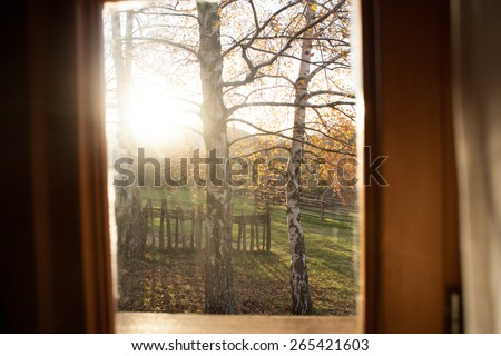 view on morning in the countryside - stock photo
