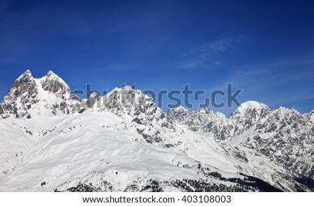View on Mount Ushba in nice sunny day. Caucasus Mountains. Svaneti region of Georgia. - stock photo