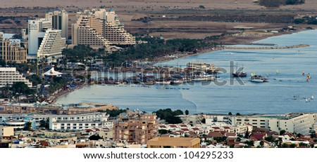 View on northern beach of Eilat - famous resort and recreational city of Israel - stock photo