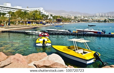 View on northern beach of Eilat - main resort and recreational city of Israel - stock photo